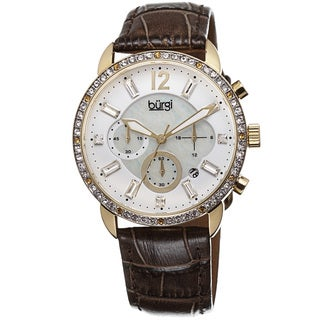 Burgi Women's Crystal Dial Chronograph Leather Brown Strap Watch