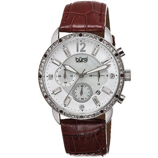 Burgi Women's Crystal Dial Chronograph Leather Strap Watch