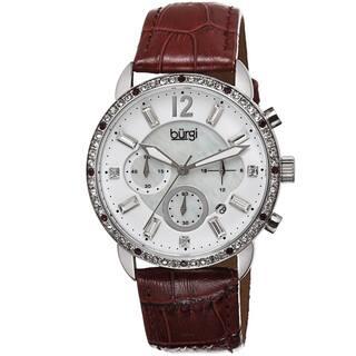 Burgi Women's Crystal Dial Chronograph Leather Strap Watch with FREE GIFT|https://ak1.ostkcdn.com/images/products/8786746/Burgi-Womens-Crystal-Dial-Chronograph-Genuine-Leather-Strap-Watch-P16025064.jpg?impolicy=medium