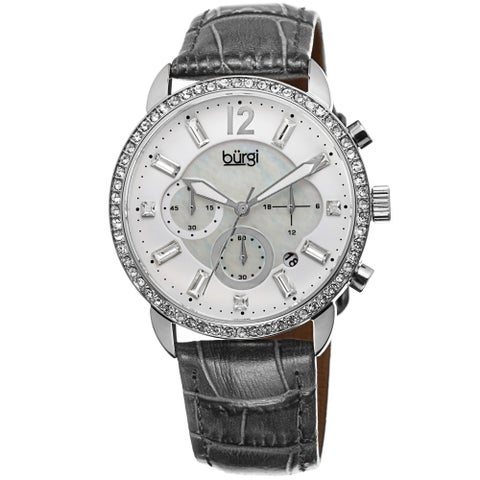 Burgi Women's Crystal Dial Chronograph Leather Grey Strap Watch