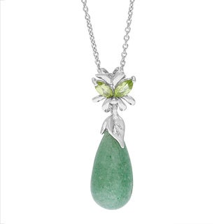 Silver Pendant with Drop Shape Green Aventurine + Marquise Shape Natural Peridot