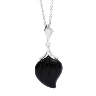 Silver Pendant with Carved Black Agate