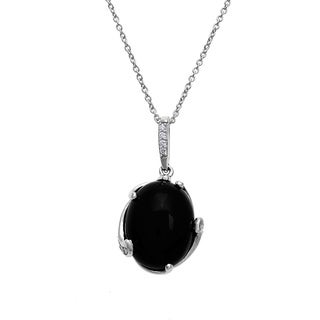 Silver Pendant with Oval Shape Black Agate and White CZ