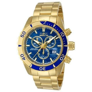 Invicta Men's 14342 Pro Diver 18k Yellow Goldplated Stainless Steel Blue Dial Watch