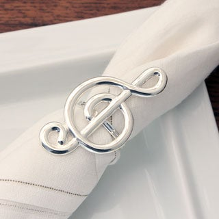Silvertone Treble Clef Napkin Rings (Set of 4)