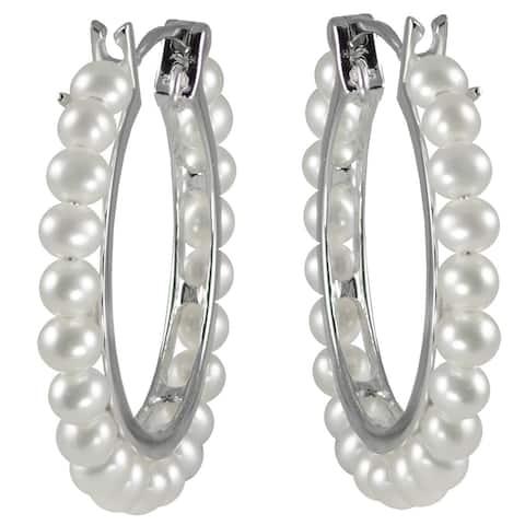 Pearls For You Sterling Silver White Freshwater Pearl Hoop Earrings (3.5-4 mm)