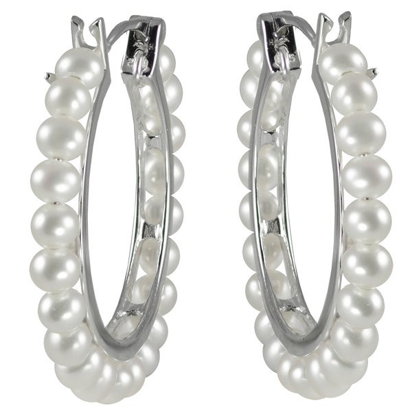 Pearls For You Sterling Silver White Freshwater Pearl Hoop Earrings (3.5-4 mm). Opens flyout.