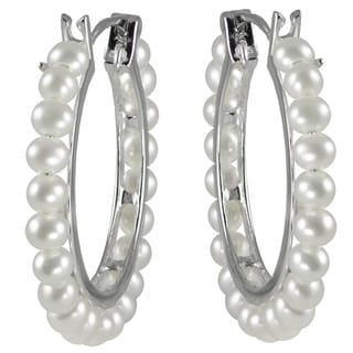 Pearls For You Sterling Silver White Freshwater Pearl Hoop Earrings (3.5-4 mm)