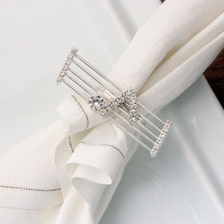 Detti Originals Silvertone Crystal Staff and Note Napkin Rings (Set of 4)