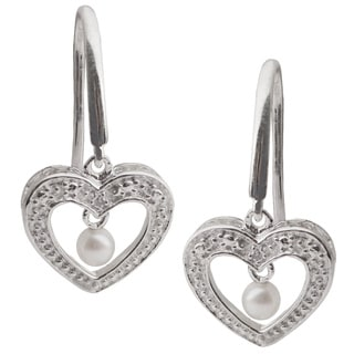 Pearls For You Sterling Silver White Freshwater Pearl and Diamond Accent Heart Dangle Earrings (2.5-3 mm)