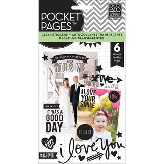 Me & My Big Ideas Pocket Pages Clear Stickers 6 Sheets/Pkg - Love