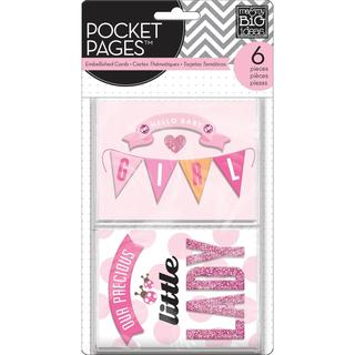 Me & My Big Ideas Pocket Pages Themed Embellished Cards 6pcs - Hello Baby Girl