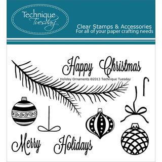 Technique Tuesday Clear Stamps 3 X4  - Holiday Ornaments