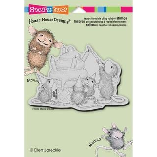 Stampendous House Mouse Cling Rubber Stamp 5.5 X4.5  Sheet - Birthday Cone