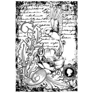 IndigoBlu Cling Mounted Stamp 7 X4.75  - Antique Songbird
