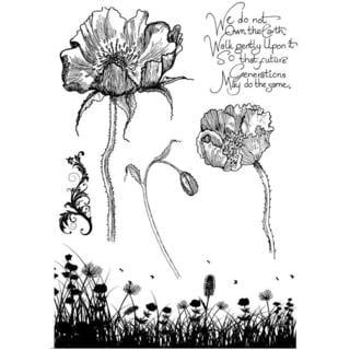 IndigoBlu Cling Mounted Stamp 9.25 X6.25  - Poppy Meadow