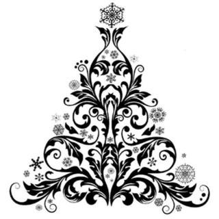 IndigoBlu Cling Mounted Stamp 9.25 X6.25 - Baroque Christmas Tree