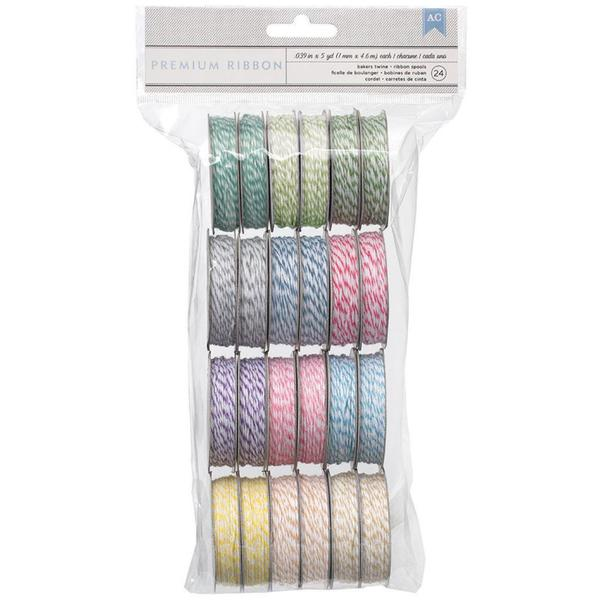 Value Pack Baker's Twine 5 Yards/Spool 24/Pkg - 12 Pastel Colors/2 Each