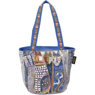 Medium Tote Zipper Top 14 X6 X9-1/2  - Autumn Felines