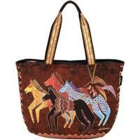 Shoulder Tote Zipper Top 23-1/2 X5-1/2 X15-1/4  - Native Horses