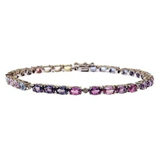 Anika and August 14k White Gold Fancy Sapphire and 1/10ct TDW Diamond Bracelet (G-H, I1-I2)