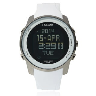 Pulsar Men's PQ2015 Classic Digital White Strap Watch