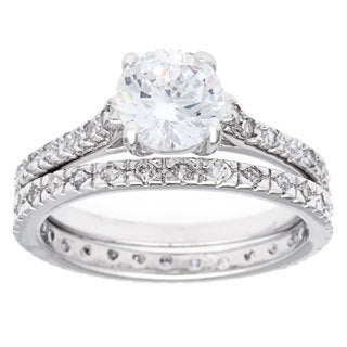 Simon Frank 2.04ct TGW Silvertone 2-piece CZ Bridal Set
