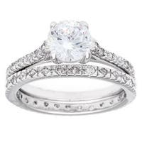 Simon Frank Designs 2.04ct TGW Silvertone 2-piece CZ Bridal Set - Silver