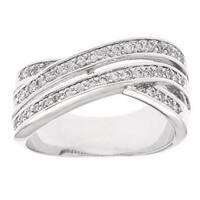Simon Frank 'Beautiful Light' Rhodium 3-row Bypass CZ Ring - Silver