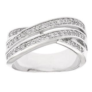 Simon Frank 'Beautiful Light' Rhodium 3-row Bypass CZ Ring - Silver