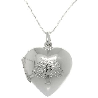 Sterling Silver Stamped Tree Of Life Locket Necklace