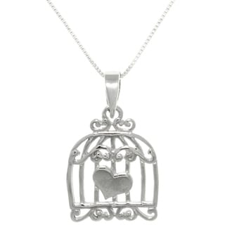 Carolina Glamour Collection Sterling Silver Caged Heart Love Necklace