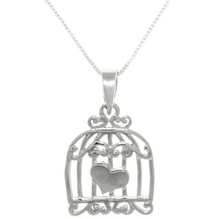 Sterling Silver Caged Heart Love Necklace