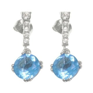 Carolina Glamour Collection Sterling Silver Sky Blue Cubic Zirconia Drop Earrings