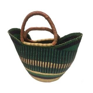 Hand-woven Multicolored Straw Utility Basket , Handmade in Ghana