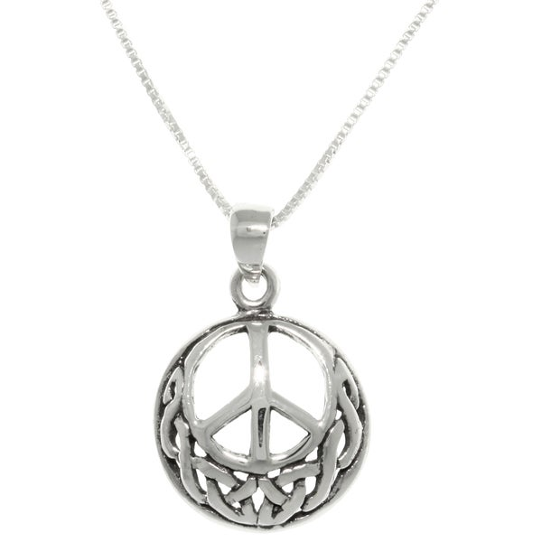 Carolina Glamour Collection Sterling Silver Round Celtic Peace Sign Necklace