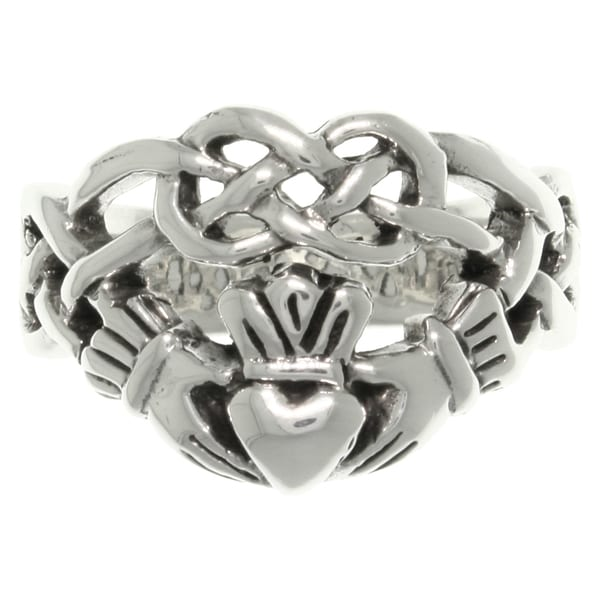 Sterling Silver Celtic Infinity Claddagh Heart Ring
