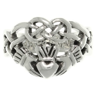 Carolina Glamour Collection Sterling Silver Celtic Infinity Claddagh Heart Ring