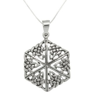 Carolina Glamour Collection Sterling Silver Celtic Knot Hexagon Necklace