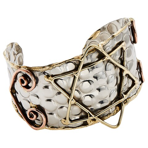 Handmade Brass and Copper Star of David Stainless Steel Cuff Bracelet (India)