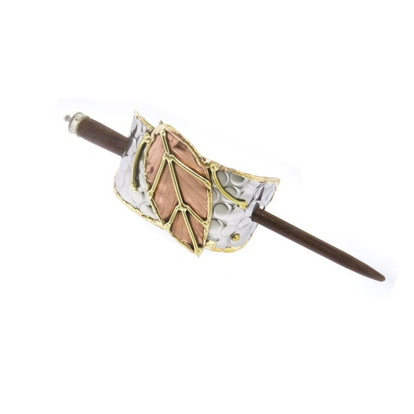 Handmade Copper and Brass Leaf Stainless Steel Hair Slide (India)