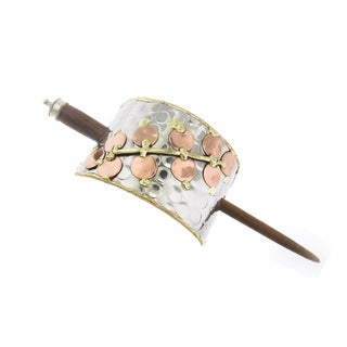 Handmade Copper and Brass Cherry Blossom Stainless Steel Hair Slide (India)