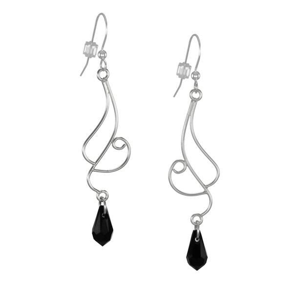 Black earrings Black silver earrings Long earrings Black silver dangling earring