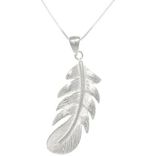 Carolina Glamour Collection Sterling Silver Polished Feather Necklace