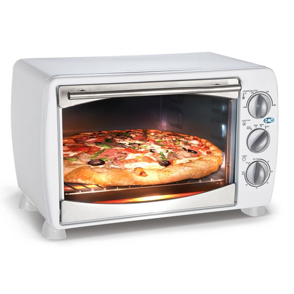 white 1200 watt countertop toaster oven broiler free shipping today 16027314. Black Bedroom Furniture Sets. Home Design Ideas