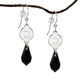 Jewelry by Dawn Silverplated Swirl Jet Black Crystal Teardrop Earrings