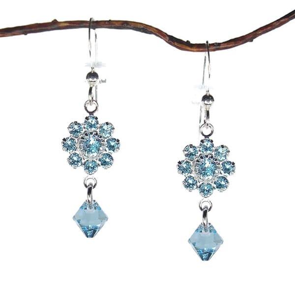 Handmade Jewelry by Dawn Aquamarine Crystal Flower Drop Earrings