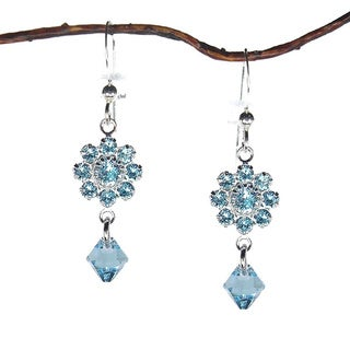 Jewelry by Dawn Aquamarine Crystal Flower Drop Earrings