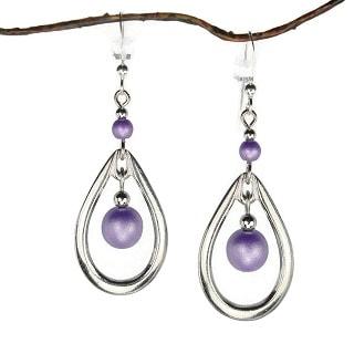 Jewelry by Dawn Rhodim-plated Open Teardrop Double Purple Bead Drop Earrings