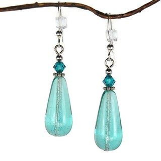 Handmade Jewelry by Dawn Aqua Glass Bead Teardrop Earrings